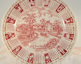 Vintage Red Transferware Calendar Plate 1968 Albert Meakin Staffordshire England God Bless Our House Zodiac Plate Anniversary Plate