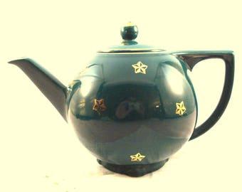 Vintage Teapot Hall 6 Cup Teapot Green Teapot Gold Star Trim Hall USA Teapot Vintage Tea Party Emerald Green Teapot Dark Green Teapot