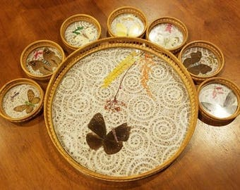 Vintage butterfly and bamboo coasters and serving tray set