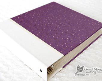 5 Year Baby Memory Book  - Dark Lilac with Gold Dots