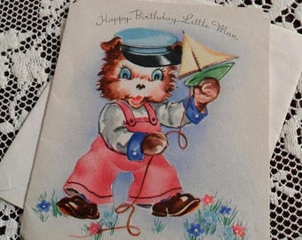 ON SALE Vintage Happy Birthday Little Man Greetings Embossed Card & Envelope Unused 1940s 1950s Cute Little Bear in Dungarees Cap Sailing Bo