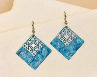 Hand painted aqua/turquoise and white earrings with sterling silver earwires