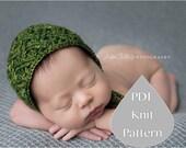 PDF Knit Pattern #0056 The Jade Knit Bonnet, Newborn, Knit PDF Pattern, Tutorial, Knit Pattern, Intermediate,Instruction,Newborn