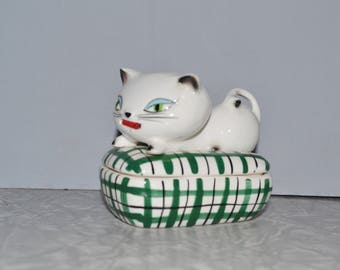 Holt Howard Cozy Kitten Sewing Box with Tape Measure Tongue ~ Mid Century ~ Kitsch