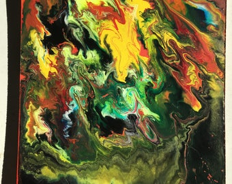 Mixed media abstract painting. Very bright. Psychedelic. Eat mushrooms and watch this thing melt. (Trust me, I tried)