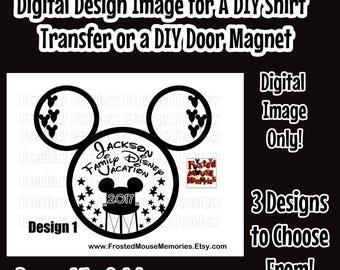 Digital Hollywood Studios Themed Disney Family Iron On Transfer Image – Epcot Themed Family Door Magnet Image Matching Family Disney Shirts