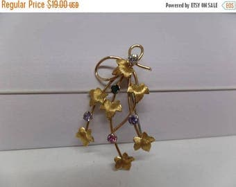 ON SALE KREMENTZ Signed Vintage Crystal Leaf Brooch