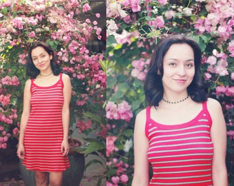 Vintage 1990s No Boundaries xs / small red striped mini dress - tank dress / patterned / stripes print / soft grunge / sleeveless