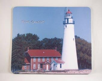 Mousepad, Fort Gratiot Michigan Lighthouse  Design, Office Décor, Photograph, Artistic, Office Accessory