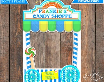 """Candy Shoppe Theme 24"""" x 36""""  Happy Birthday Photo Booth Frame Boy Colors Digital Download"""