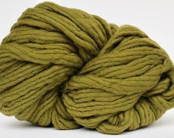 Super Bulky Yarn, Giant Yarn, Super Thick Yarn, Smoosh Yarn, XL  Wool Factory Yarn, Roving yarn, Blanket Yarn, Big Yarn, Olive Color