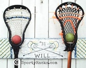 3 Lacrosse Stick Holders 2 Hook Hangers Personalized Royal and White