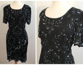Vintage BLACK SEQUIN DRESS / size Small