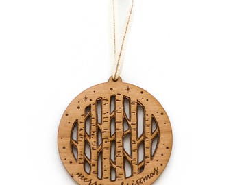 Birch Trees Ornament- Merry Christmas, Wood Ornament