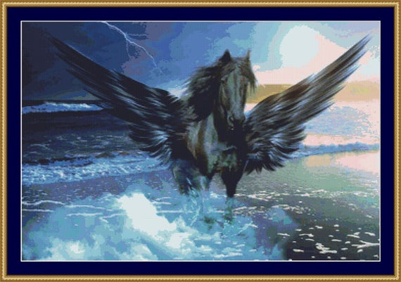 Black Pegasus Cross Stitch Pattern /Digital PDF Files /Instant downloadable