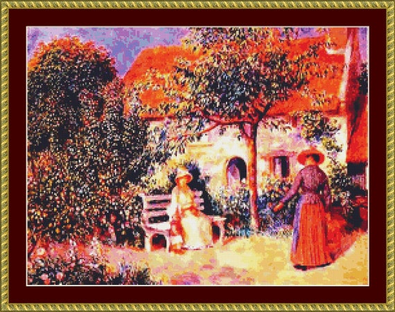 Garden Scene In Brittany Cross Stitch Pattern /Digital PDF Files /Instant downloadable