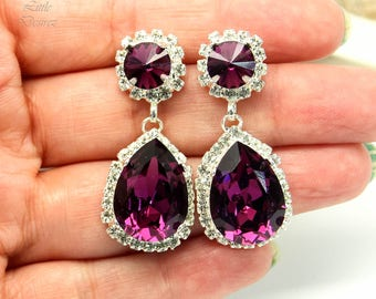 Amethyst Earrings Swarovski Chandelier Earrings Purple Bridal Earrings Wedding Crystal Earrings Vintage Wedding Victorian Jewelry AM31DD