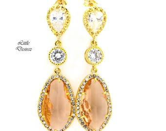 Peach Earrings Champagne Bridal Earrings Cubic Zirconia Jewelry Gold Earrings Bridesmaid Gift Wedding Jewelry Statement Post Earrings CH40PC