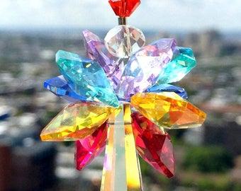 Swarovski Suncatcher Crystal Suncatcher Chakra Colors Rainbow Ornament Chakra Suncatcher Crystal Prism Aurora Borealis Star Sunburst Cluster