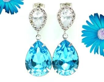 Blue Bridal Earrings Aquamarine Earrings Cubic Zirconia Earring Swarovski Crystal Wedding Jewelry Bridal Earrings Bridesmaid Gift AQ31P