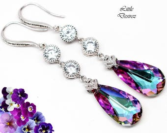 Pink and Purple Bridal Earrings Purple Earrings Swarovski Vitrail Light Crystal Long Dangle Chandelier Earrings Bridesmaid Earrings VL33HCC