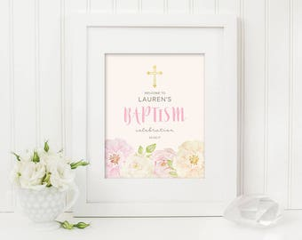 Printable Christening Baptism Welcome Sign (Ch08)