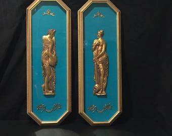 Mid Century Andrew Kolb & Son Gold and Turquoise Blue Felt Shadow Box Roman Female Cherubs Hollywood Regency Nouveau  Antique Style Boudoir