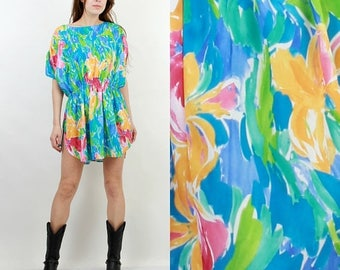 SALE 90s Summer Dress / Beach Dress / Colorful Dress / Vintage Dress / Mini Dress / Medium Dress / Floral Dress / Floral Tunic / Colorful Tu