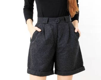 SALE Vintage Grey Wool High Waisted Shorts Orig Dachstein Size 40