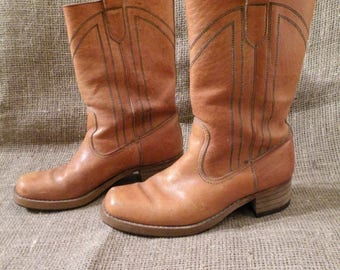 25% OFF 70s Leather Boots / Man Leather Boots / Brown Leather Boots / Western Boots / Cowboy Boots / Vintage Brown Boots