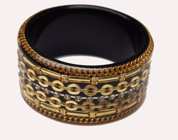Chunky gold Bangle  - Juicy Coutore - Gold chain Lucite - Rhinestone - Bold bracelet