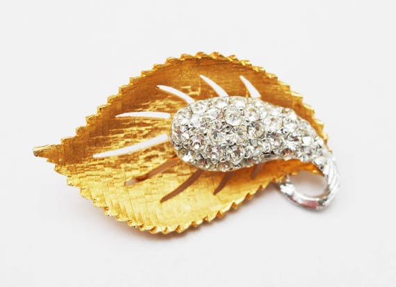 Gold Rhinestone  Leaf Brooch -  mid century  Flower pin