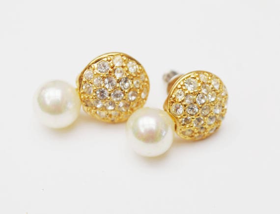 Rhinestone Pearl earrings - signed Roman  - Clear crystal - White - Gold - Pirced earring