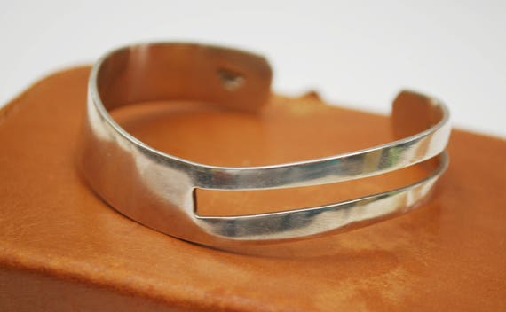 Sterling silver Cuff Bracelet - Wave - Open work - 925 -   Mexico - Modernistic Bangle