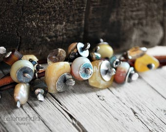 Chunky Gemstone Bracelet Amber Cluster on Rustic Leather Oxidized Silver Jewelry by Letemendia