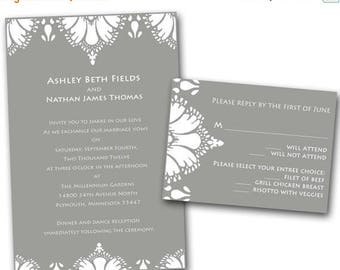 Summer Sale Lace Damask Wedding Invitation Set -  Wedding Invitation, Gray and White, Rustic, Country Weddings, Damask, Rsvp card