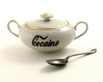 Cocaine Sugar Pot, Adult Humor, Vintage 70's Porcelain Sugar Pot, Handled Lided, Drugs, Fun Tea Party, Coffee Tea, Fun Gift Ideas, Addiction