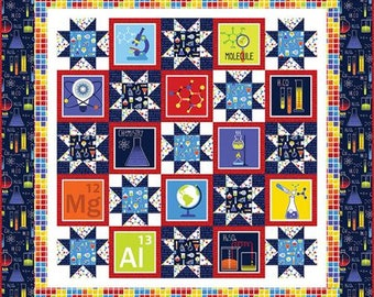 GEEK CHIC Quilt Kit -Free Project Sheet-Quilt Top and Backing-Periodic Table- DNA- Primary Colors-Science Theme - Quilt Kit Includes Backing