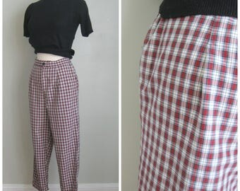 Vintage 1960's Red Plaid Pedal Pushers// Cropped// Metal Zipper//