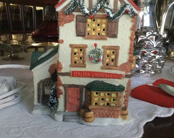 Dickensville Collectables Italian Restaurant Ceramic Lighted CHRISTmas House/ Village