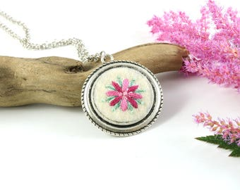 botanical necklace, botanical jewelry, embroidered pendant, woodland necklace, flower necklace, gift for her, pink flower necklace