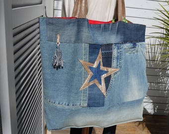 Large bag Tote realized in recycled jeans including an IKKS - unique model - reversible