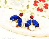 Vintage Red, White and Blue Rhinestone Flower & Leaf Charms 16x11mm, Sapphire, Siam Red Floral Drop Brass or Silver Ox Settings - 2