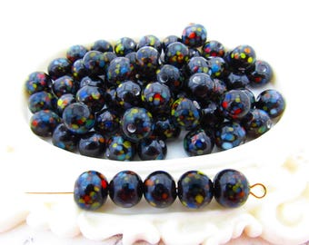 Retro Vintage 8mm Round Black Multi Color Speckled Polka Dot Glass Beads - 12