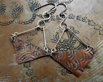 Sterling Silver and Copper Metalsmith Mixed Metals Earrings