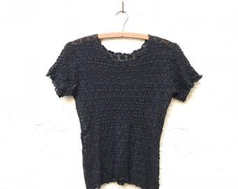 Floral Mesh Lace T-Shirt