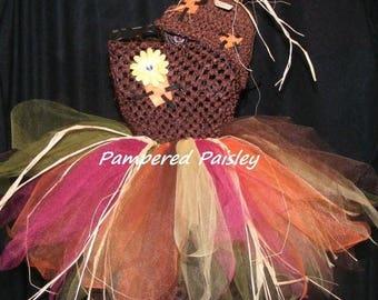 25% off SALE Scarecrow Tutu dress - Halloween Scarecrow tutu dress costume with matching hat
