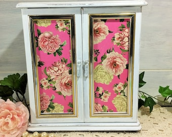 Pink Jewelry Box Armoire, Vintage Black & Cream Stripe French Jewelry Armoire, Shabby Cabbage Rose 2 Door Jewelry Cabinet, Jewelry Organizer