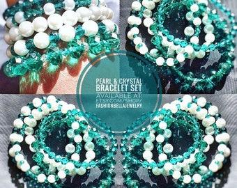 White pearls & Aqua crystals bracelet set