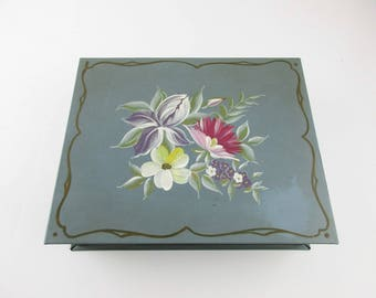 Tole Painted Grey Green Metal Box -  Mirrored Box - Box With Hinged Lid - Divided Inside Compartments - Edged Top and Bottom Green Metal Box